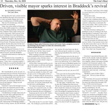 Driven, visible mayor sparks interest in Braddock's revival