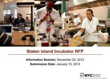 Staten Island Incubator RFP Info Session Presentation - NYCEDC