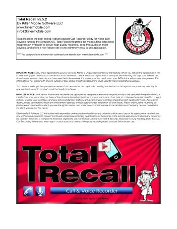 Total Recall v5.5.2 By Killer Mobile Software LLC www.killermobile ...