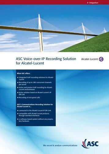 ASC Voice-over-IP Recording Solution for Alcatel ... - ASC telecom