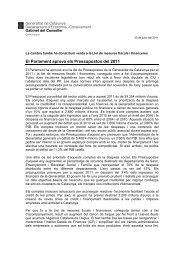 aprova els Pressupostos del 2011 - Premsa - Generalitat de Catalunya