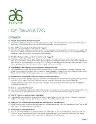 Host Rewards FAQ - Arbonne