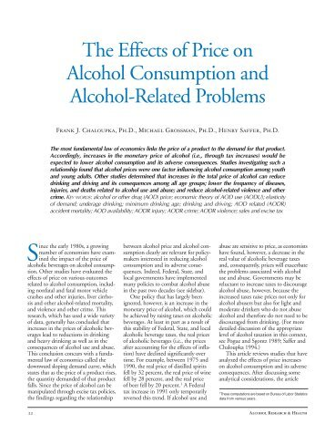 The Effects of Price on Alcohol Consumption and Alcohol-Related ...