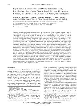 Experimental, Hartree-Fock, and Density Functional Theory ...