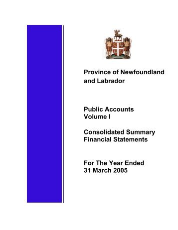 Public Accounts - 2004-2005 Volume 1 - Finance - Government of ...