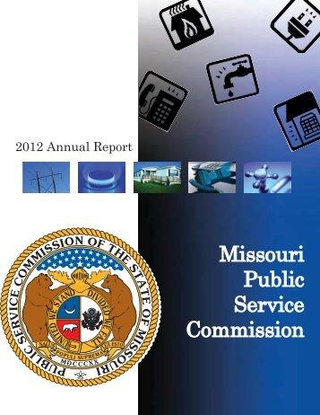 2012 PSC Annual Report - Missouri Public Service Commission
