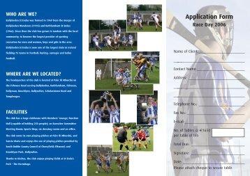 Application Form Race Day 2006 - Ballyboden St. Enda's GAA