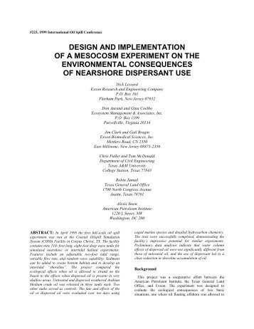 Design and Implementation of a Mesocosm Experiment on the ...