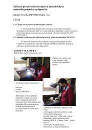 Zařízení pro povrchovou úpravu austenitických materiálů,pomůcky a ...