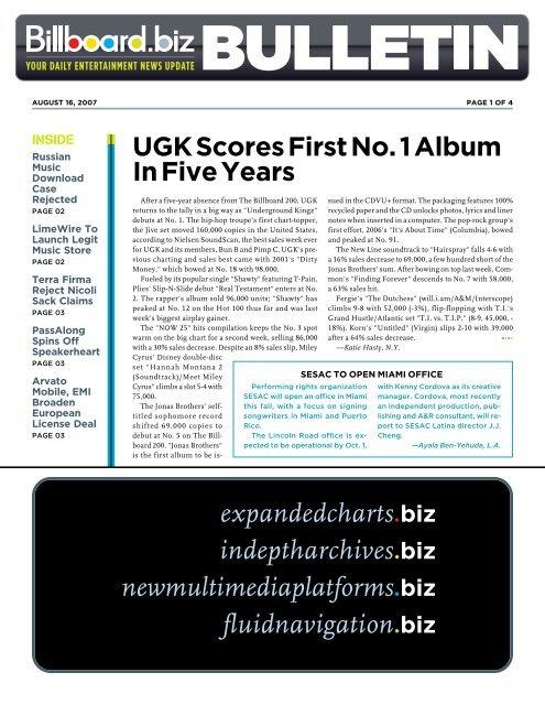 UGK Scores First No. 1 Album In Five Years - Iris