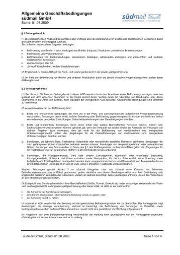 Allgemeine Geschäftsbedingungen südmail GmbH