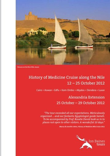 History of Medicine Cruise along the  Nile 12 - Jon Baines Tours Ltd