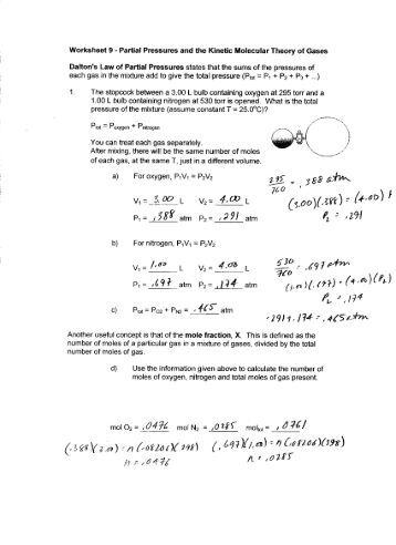 Worksheets Kinetic Molecular Theory Worksheet worksheet 8 partial pressures and the kinetic molecular theory 9 of