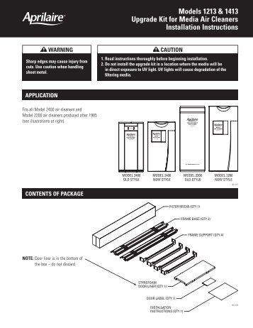 Media Upgrade Kit Installation Instructions - Aprilaire
