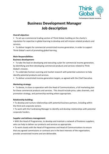 Business Development Manager Job Description  Wilson Mohr
