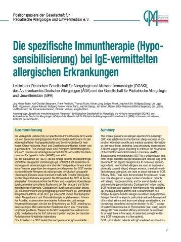 Die spezifische Immuntherapie (Hypo- sensibilisierung) bei IgE ...