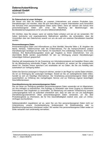 Datenschutzerklärung südmail GmbH