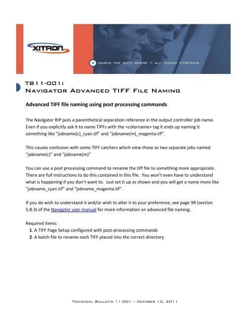 Xitron TB11-001-Navigator Advanced TIFF File Naming pdf
