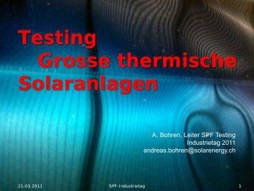 Testing Grosse thermische Solaranlagen