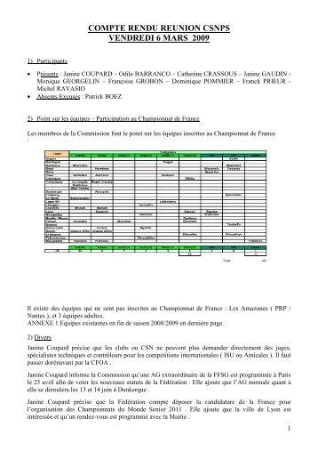COMPTE RENDU REUNION CSNPS x - Commission Sportive ...