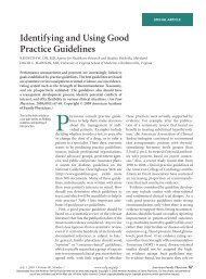 Identifying and Using Good Practice Guidelines - American ...