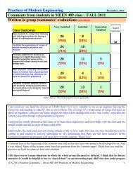 Assessment of Outcomes and student comments