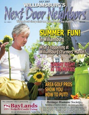 July - Williamsburg , VA Magazine , Next Door Neighbors ...