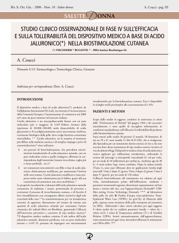 STUDIO CLINICO OSSERVAZIONALE DI FASE ... - Mnlpublimed.com