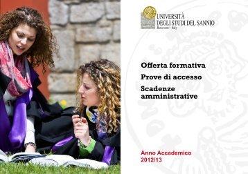 Offerta formativa Prove di accesso Scadenze amministrative
