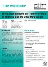 CTIM WORKSHOP - Chartered Tax Institute of Malaysia
