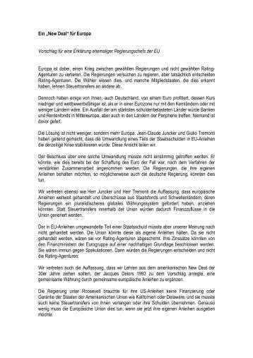"""Ein """"New Deal"""" für Europa Vorschlag für eine Erklärung ehemaliger ..."""