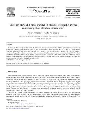 Unsteady flow and mass transfer in models of ... - ablemax.co.kr