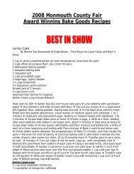 2008 Monmouth County Fair Award Winning Bake Goods Recipes