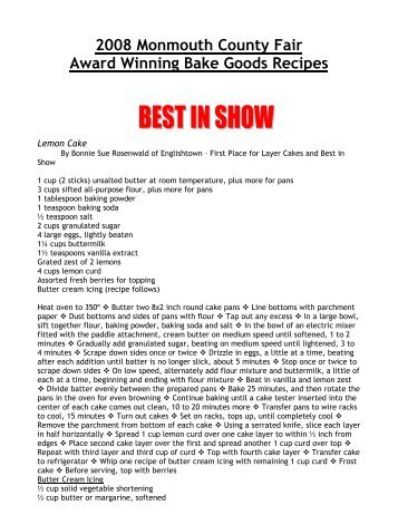 2008 Monmouth County Fair Award Winning Bake Goods Recipes