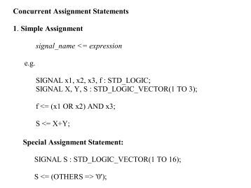 Vhdl assignment operator