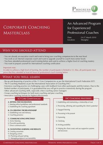 Corporate Coaching Masterclass - Progress-U