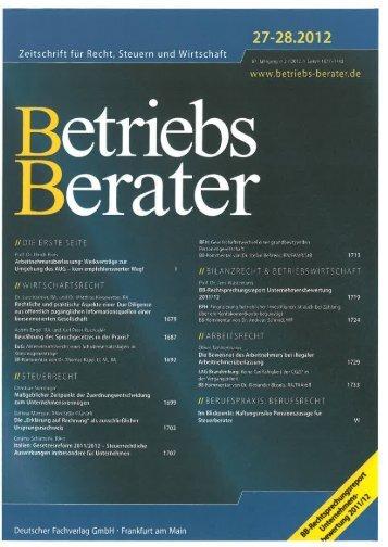 """""""BB-Rechtsprechungsreport Unternehmensbewertung 2011/12""""."""