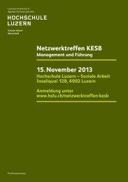 Netzwerktreffen KESB 15. November 2013 - Hochschule Luzern