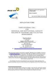 Application form GTI 2005 - Royal Belgian Institute of Natural Sciences