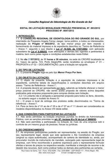 PREGÃO materiais impressos diversos- 2012 - CRO/RS