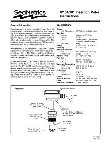 "IP101/201 Paddlewheel insertion flow meter for 2""to 48"" pipe"