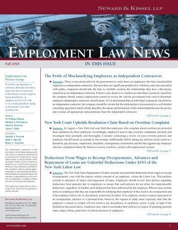 Employment Law News Fall 2010 - Seward and Kissel