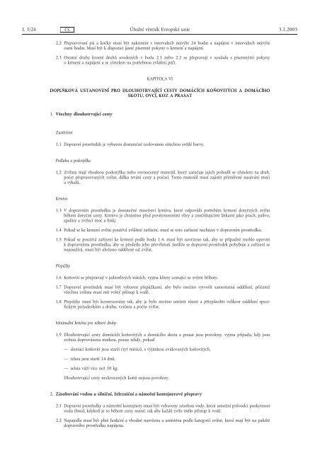 NAŘÍZENÍ RADY (ES) č. 1/2005 - Informační centrum bezpečnosti ...