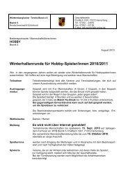 Winterhallenrunde für Hobby-Spieler/innen 2010/2011 - WTB