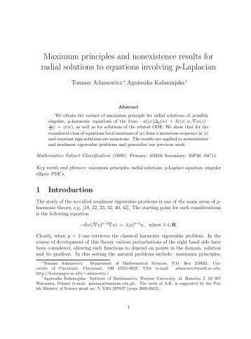 Maximum principles and nonexistence results for radial solutions to ...