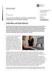 Presse-Info Schreiben auf dem Klavier - Max-Planck-Institut Informatik