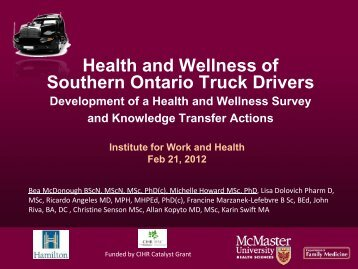 Health and Wellness of Southern Ontario Truck Drivers - Institute for ...