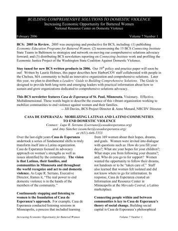Casa De Esperanza - National Center on Domestic and Sexual ...