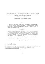 Reduction mod p of Subgroups of the Mordell-Weil Group of an ...