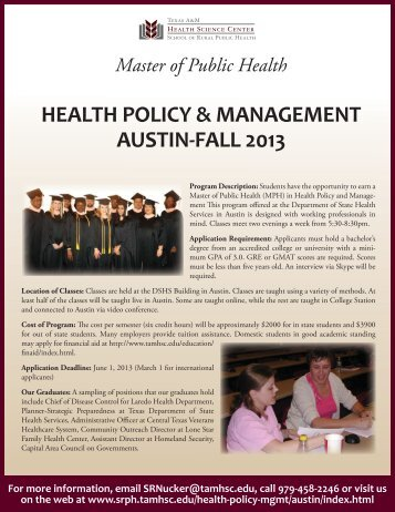 health policy & management austin-fall 2013 - School of Rural ...